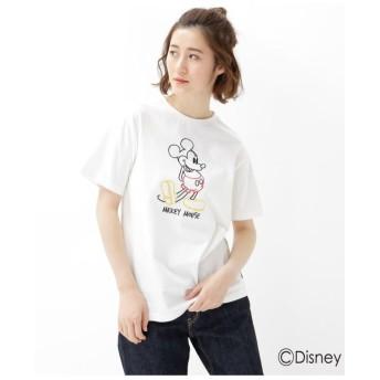 【WEB限定】 ミッキーマウス ラインアート刺繍 Tシャツ