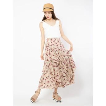 花柄ティアードスカート