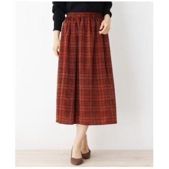 サテンチェックギャザースカート