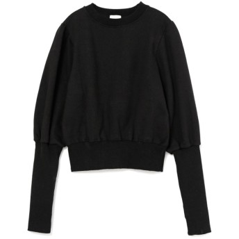 rib sleeve puff sweat