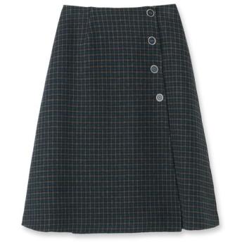 【美人百花12月号掲載/Lサイズあり】リバーシブルウール混ラップスカート