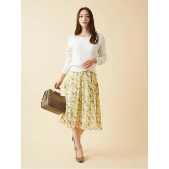 ぼかし大花柄オリジナルプリントエアリーフレアスカート