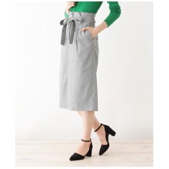【洗える】ガンクラブチェックタイトスカート