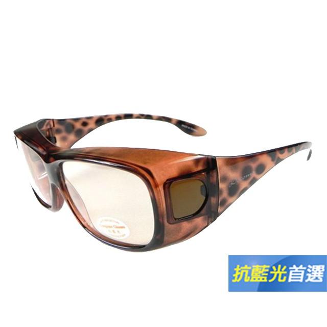 【Docomo可包覆抗藍光新款】UV400+PC材質 3C族首選 完美包覆近視眼鏡無負擔(豹紋鏡框)