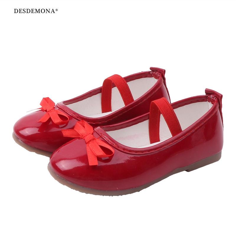 韓版甜美女童表演鞋2020新款蝴蝶結兒童皮鞋寶寶一腳蹬軟底單鞋小紅鞋