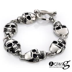 ACHOS【Skulls水晶骷髏A】潮流西德鋼手環