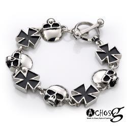 ACHOS【Skulls水晶骷髏C】潮流西德鋼手環