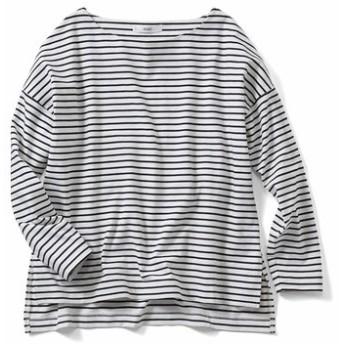 福田麻琴さんコラボ ピッチにこだわった大人ゆるボーダーTシャツ〈ブラック×ホワイト〉 IEDIT[イディット] フェリシモ FELISSIMO【送料無料】
