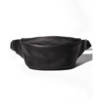(PATRICK STEPHAN/パトリックステファン)Leather waist bag 'demi cercle' 19/メンズ ブラック