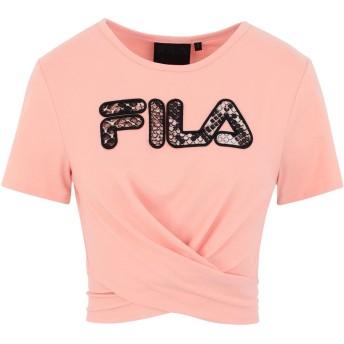 《セール開催中》FILA HERITAGE レディース T シャツ サーモンピンク XS レーヨン 60% / ポリエステル 35% / ポリウレタン 5% JONA CROPPED TEE