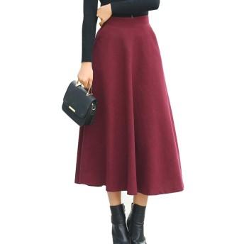レディース 大きいサイズ 秋 冬 ロング スカート ウール 厚手 無地 チェック柄 11色 スカート