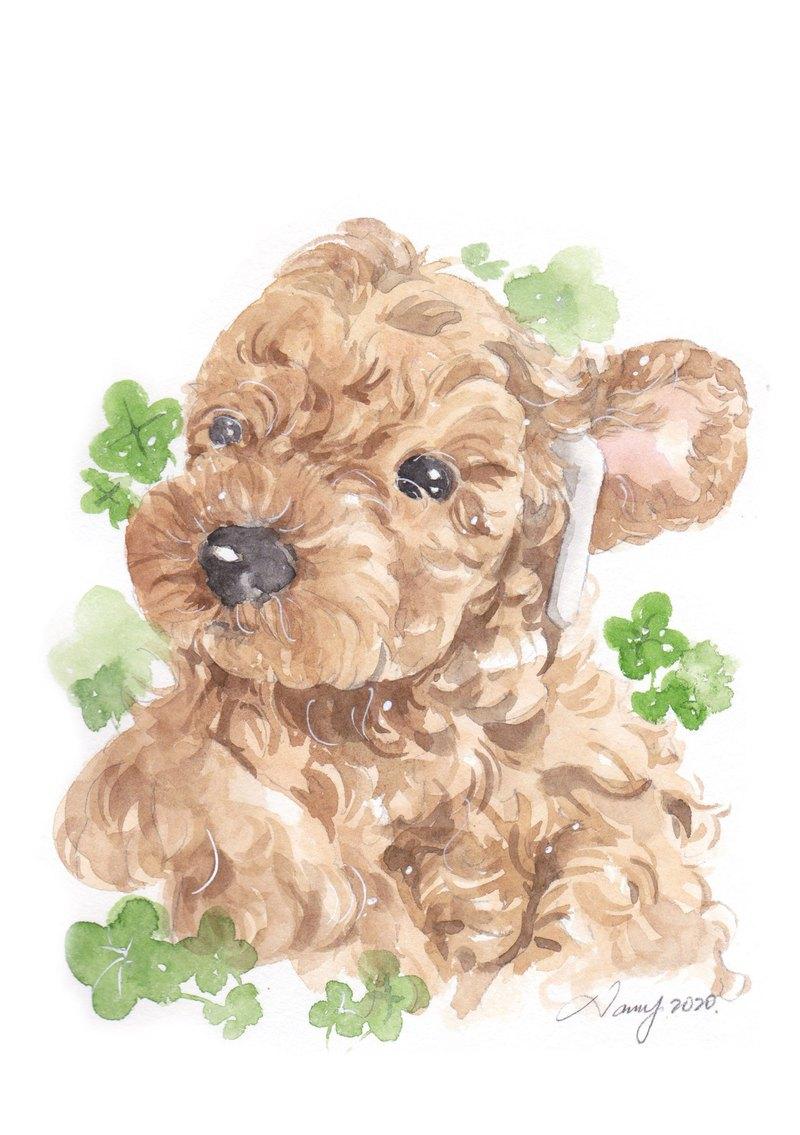 手繪客製寵物肖像畫 A5 水彩畫