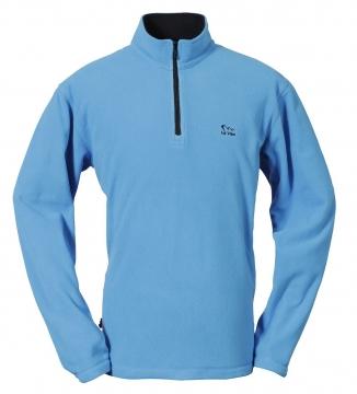 男竹碳刷毛保暖上衣-水藍