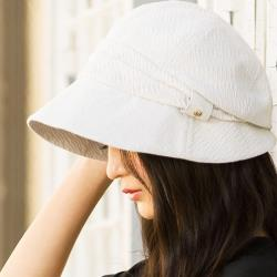 日本 QUEENHEAD 抗UV小顏時尚防曬帽8002米白色