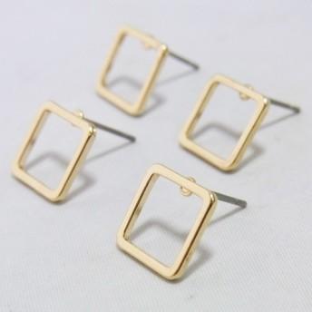 4個入りスクエア 四角 枠 ピアス 取り付け パーツ チャーム 素材 部材 -242ゴールド S