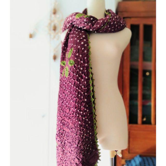 《愛麗絲花園》印度古法手工細針縫綁染 絲緞披肩 圍巾