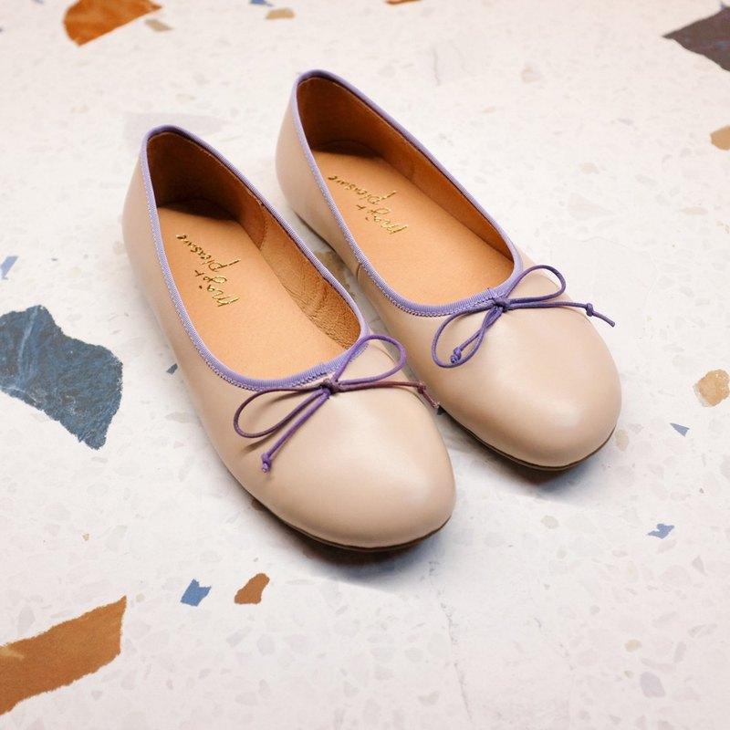 漸層調色盤!斜方頭寬楦娃娃鞋 裸粉 全真皮MIT -恍紫漸層