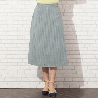 【SALE(伊勢丹)】【送料無料】<PISANO/ピサーノ> 大きいサイズ 先染めマルチストライプ・フレアスカート[セットアップ対応](56042003) ミドリ【三越・伊勢丹/公式】