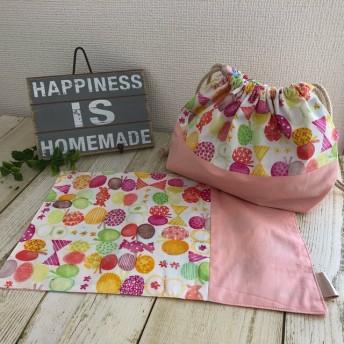 【2点セット】入園準備に!お弁当袋&ランチョンマット No30 メルヘンちょうちょ ピンク