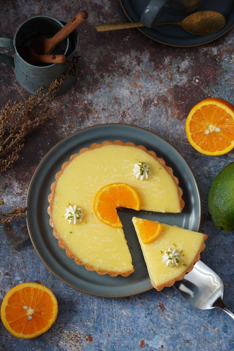 奈良桜手作 -香橙乳酪派 6吋 優格乳酪 蛋糕 多層次口感