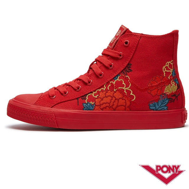 PONY Shooter系列 花開富貴刺繡高筒帆布鞋