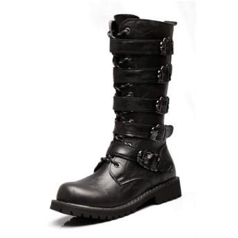 [LAFH] ブーツ メンズ 黒 エンジニアブーツ ハイカット 編み上げ ローヒール 25.0cm 革靴 レースアップブーツ サイドジッパー 履きやすい 編み上げブーツ ロング丈 歩きやすい 大きいサイズ 防水 防滑 防寒 カジュアル ブラック バイク用 冬