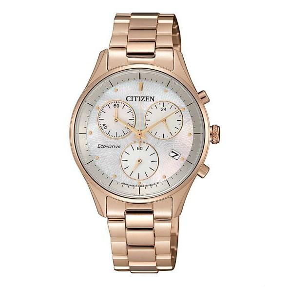 CITIZEN 星辰錶 FB1442-86D 玫瑰金光動能三眼計時女錶 /白蝶貝面板 32mm