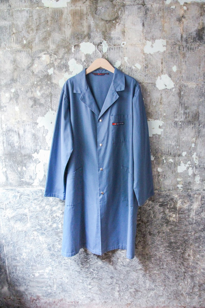 裊裊百貨公司-Vintage 藍色長版補丁工裝外套 罩衫