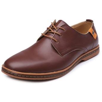 [ランボ] カジュアルシューズ メンズ 革靴 ビジネスシューズ レースアップ モカシン 通気 紳士靴 ブラウン 大きいサイズ 26.5cm シンプル ローカット ウォーキングシューズ フォーマル カジュアル おしゃれ