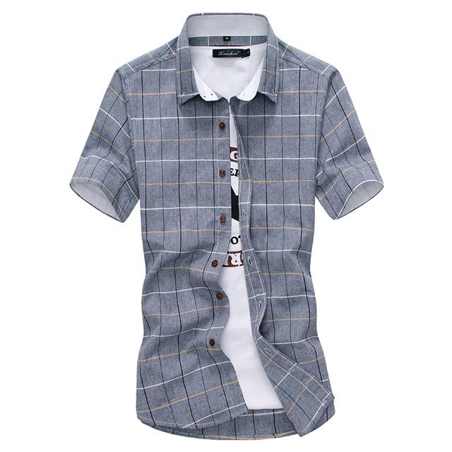 百搭質感立領修身格紋襯衫 短袖襯衫 短襯衫 有大尺碼 M-5XL 共5色【QTJCS28】