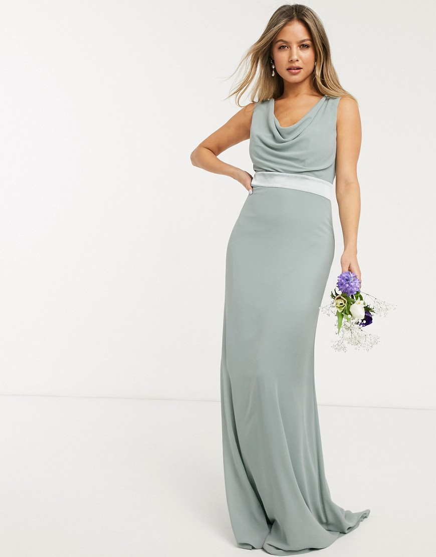 TFNC bridesmaid cowl neck bow back maxi dress in sage-Green