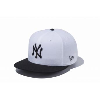 NEW ERA ニューエラ 9FIFTY ニューヨーク・ヤンキース ホワイト × ブラック ブラックバイザー スナップバックキャップ アジャスタブル サイズ調整可能 ベースボールキャップ キャップ 帽子 メンズ レディース 57.7 - 61.5cm 12492797 NEWERA