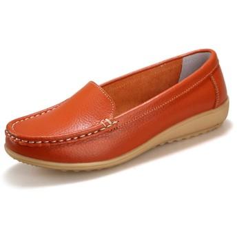 [ストア] レディース 23.5cm 靴 ラウンドトゥ パンプス フラット シューズ ローヒール パンプス 女性 脱げない オールシーズン ぺたんこ 妊婦靴 通勤 オフィス 宴会 ベルト付き カジュアル シューズ 歩きやすい 1cm未満 橙色