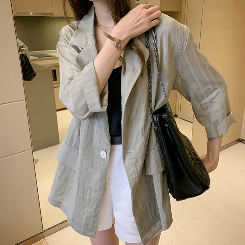【現貨】簡約條紋大尺碼薄外套女裝中長款氣質薄款防曬衫寬鬆顯瘦西裝領長袖襯衫