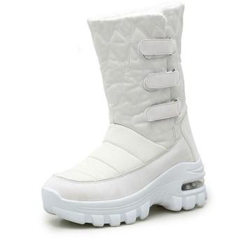 [ムリョシューズ] ウインターブーツ スノーブーツ レディース ショートブーツ 冬 ホワイト 滑り止め 通学 23.0cm 通勤 柔らかい 雪対応防寒 保温 綿靴 カジュアル 女性用 雪用ブーツ スノーブーツ ミドルブーツ 撥水加工 防寒靴 防水