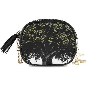 NIESIKKLA レディース チェーンバッグ、おしゃれ ミニ グ ショルダーバッグ シンプル 合わせやすい 多機能 結婚式 パーティーバッグ、生命の木のデジタルフルーツプリント