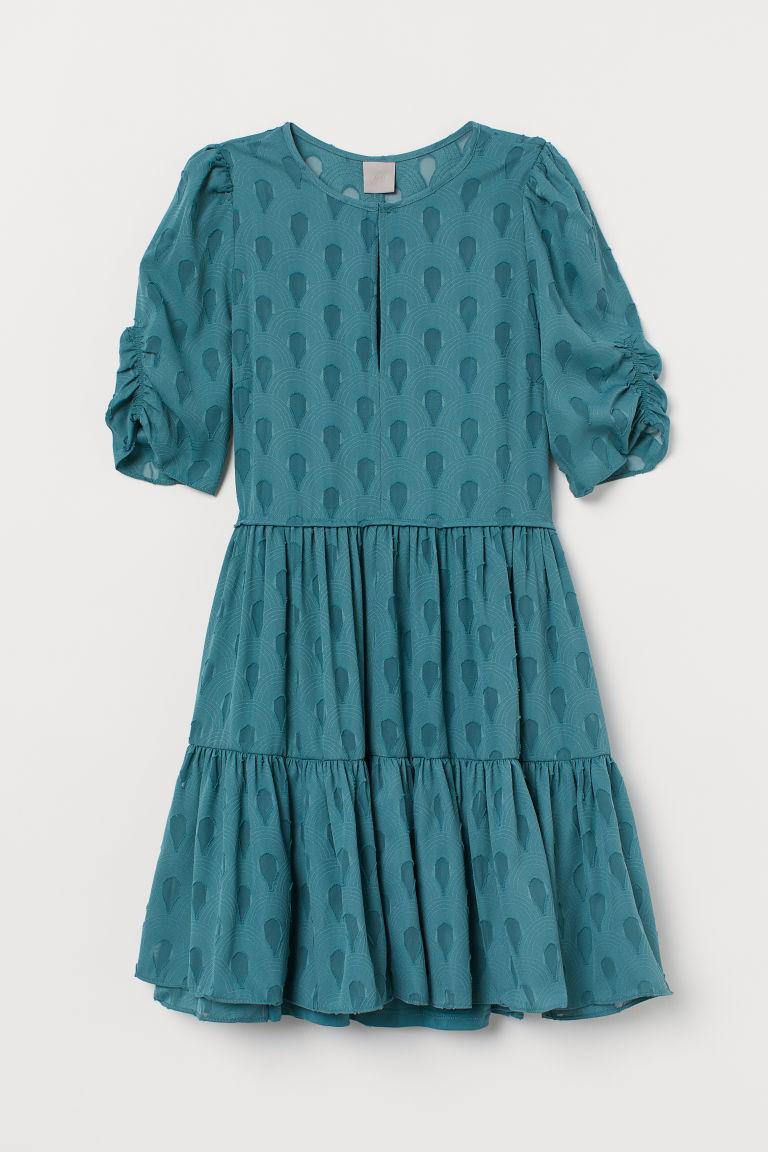H & M - 公主袖洋裝 - 藍綠色
