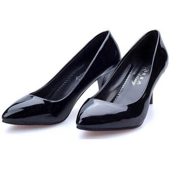 [Kg8d] パンプス ピンヒール 歩きやすい 6センチ ポインテッドトゥ ハイヒール 安定感 美脚 大きいサイズ エナメル クッション 幅広 美脚 ピンヒール レディース 22.5cm 靴 シューズ 歩きやすい 黒 痛くない