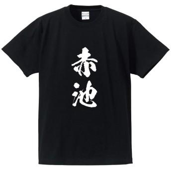赤池 オリジナル Tシャツ 書道家が書く プリント Tシャツ 【 名字 】 壱.黒T x 白縦文字(前面) サイズ:XL