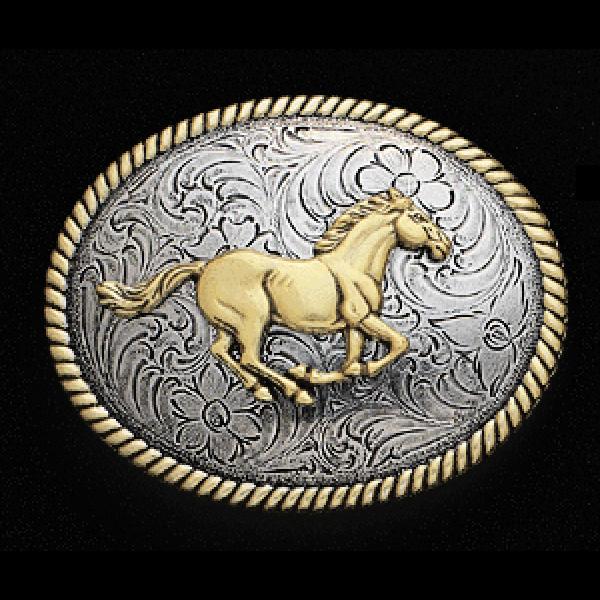 Nocona Galloping Gold - Belt Buckle