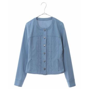 HIROKO BIS 【洗える】ノーカラー ステッチジャケット ノーカラージャケット,ライトブルー