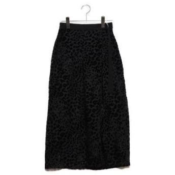 スタイルブロック STYLEBLOCK ベロアレオパード柄オパールベルトスカート (ブラック)