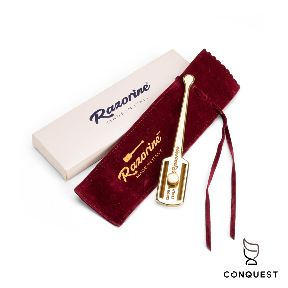 【 CONQUEST 】義大利 Razorine 傳統安全刮鬍刀 雙刃安全刮鬍剃刀 金色