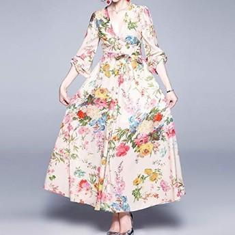 服装やアクセサリー ドレス (:として表示サイズ:Mカラー)CZ DeclamatoryはランタンスリーブVネック長袖Habilitateスウィング (色 : As Show, サイズ : One Size)