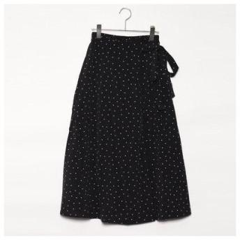 スタイルブロック STYLEBLOCK ポプリンドットプリントタックフレアスカート (ブラック)