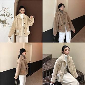 ファストファッション 秋冬 韓国ファッション 裏起毛 単体ボタン 厚手 子羊の毛 ファー・毛皮 コート