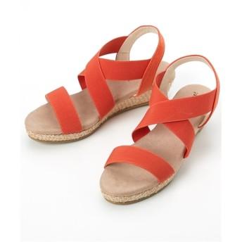 クロスゴムフィットウェッジヒールサンダル(5cmヒール)(低反発中敷) サンダル, Sandals