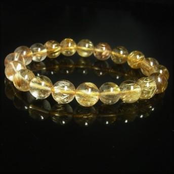イチオシ 透明度抜群 現品一点物 ゴールドルチル ブレスレット 金針水晶 数珠 10 11ミリ 34g PKR6