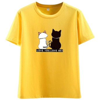 Tシャツ レディース 猫 半袖 カットソー 丸首 Uネック プリント トップス ゆったり カジュアル イエロー