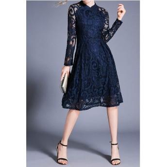 服装やアクセサリー ドレス CZファッションヴィンテージエレガントなレースドレス(色:ブルーサイズ:S) (色 : 青, サイズ : One Size)
